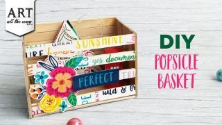 DIY Popsicle Basket  Desk Organizer  Popsicle Crafts  Best out of waste Ideas  Upcycle  Decor