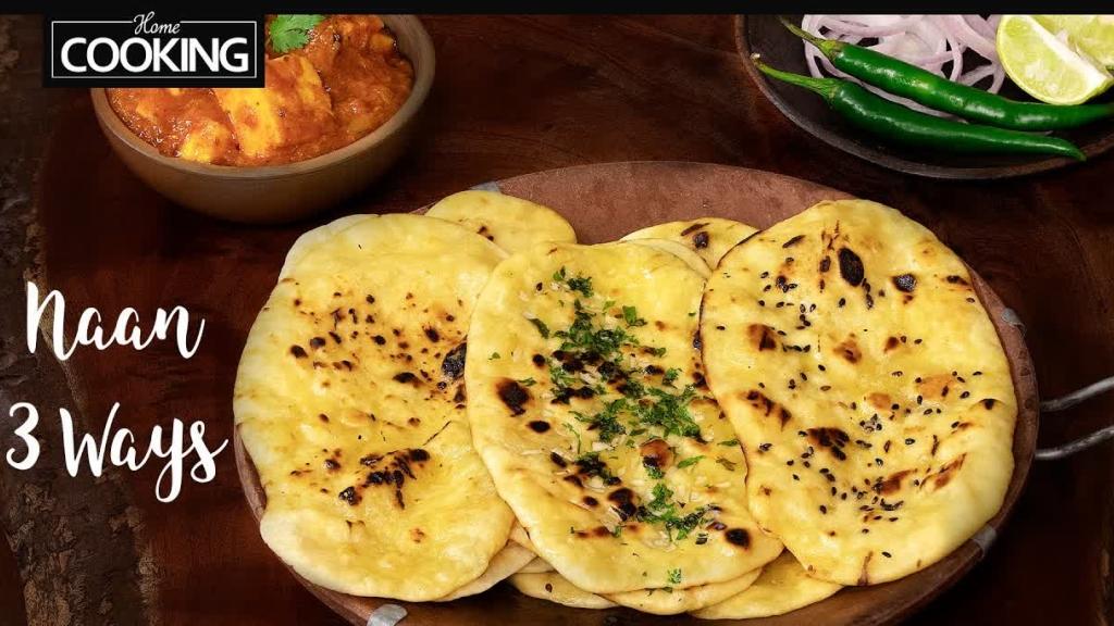 Naan 3 Ways  Garlic Naan  Butter Naan  Sesame Naan  Naan Recipe  Dinner Recipes  Roti Recipe