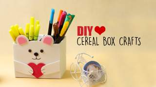 Cereal Box Crafts  Diy Desk Organiser  Back to school